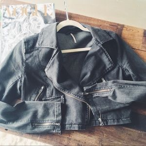 Free People charcoal denim jacket
